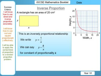 Direct, Inverse, Square, Root Proportion - iGCSE Booklet