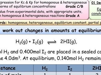 AQA/Edexcel Equilibrium Constants Kc, Kp entire lessons and resources