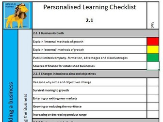 GCSE Business Edexcel 9-1 Personal Learning Checklists