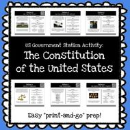 US Government Stations Activity - The Constitution *Print & Go Prep*