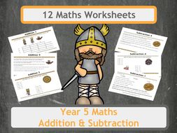 Fun Viking Themed Addition and Subtraction Worksheets for Year 5  Classes