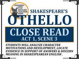 Othello Close Reading Worksheet (Act 1, Scene 3)