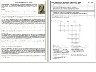 The Life and Work of Charlotte Bronte  - Reading Comprehension - Informational Text / Biography