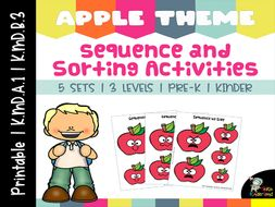 Apple Theme Sequencing by Size and Sorting Activities Printable Vol 1