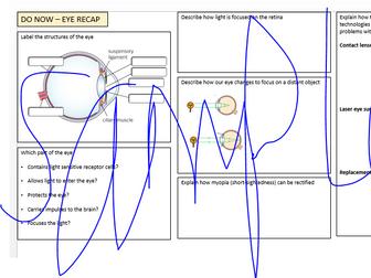 Eye revision sheet - AQA Biology 9-1