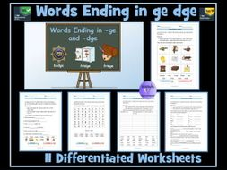 words ending in dge ge 11 differentiated worksheets by krazikas teaching resources tes. Black Bedroom Furniture Sets. Home Design Ideas