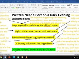 Written Near a Port on a Dark Evening - Fully Annotated Poem CIE