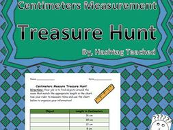 Centimeters Measurement Treasure Hunt Worksheet Activity
