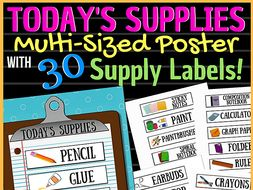 Today's Supplies Poster & 30 Supply Strips: All grade levels!