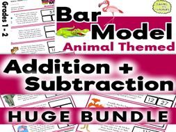 Problem Solving Word Problems: Animal Addition and Subtraction Bar Model Bundle