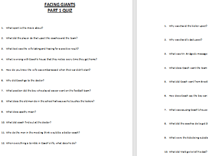 facing giants movie short answer questions by zelayaa teaching rh tes com Giants in the Bible Facing Your Giants PDF