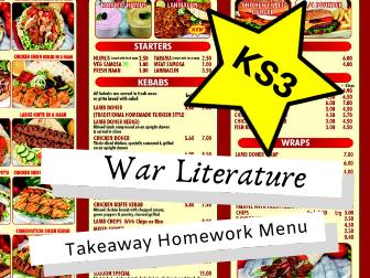 War Literature KS3 Takeaway Homework Menu