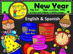 FREEBIE Happy New Year Clipart Digital Images English and Spanish Clips