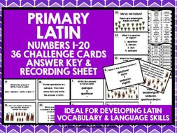 PRIMARY LATIN NUMBERS 1-20 CHALLENGE CARDS