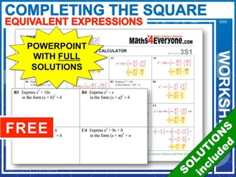 Completing the Square (Progressive Worksheets)