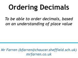 Ordering Decimals (and Place Value recap) KS3 Lesson