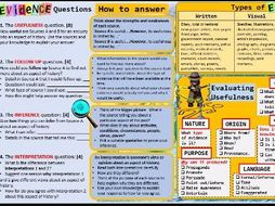 Evidence Usefulness Mat KS3/KS4 Edexcel 1-9 Source based questions.