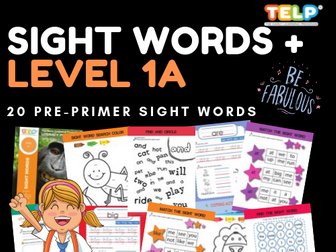 Sight Words 1A - Dolch Pre-Primer Worksheets / Activities (20 Words)