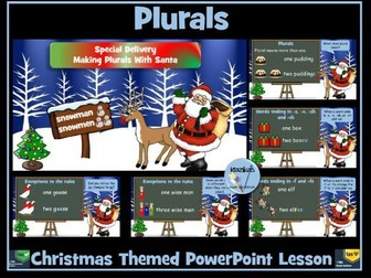 Plurals PowerPoint Lesson  -  Christmas Themed