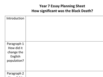 KS3 - Essay Planning Sheet - Black Death