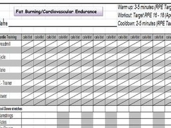 Fitness Training Programme Template/Record