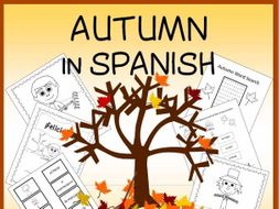 Spanish Fall Vocabulary Sheets, Worksheets, Matching & Bingo Games