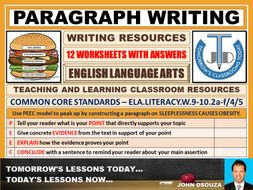 PARAGRAPH WRITING - 12 WORKSHEETS WITH ANSWERS