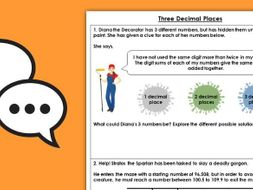 FREE Year 6 Three Decimal Places Spring Block 1 Maths Discussion Problems
