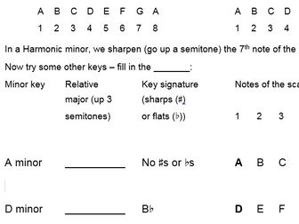 How to work out harmonic minor keys - worksheet