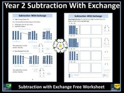 subtraction year 2 subtraction with exchange free information sheet and worksheet by krazikas. Black Bedroom Furniture Sets. Home Design Ideas