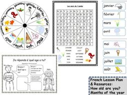 How old are you & Months of the year French Lesson KS1/2