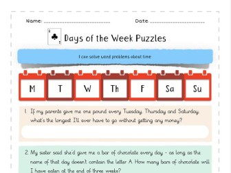 Days of the Week Word Problems