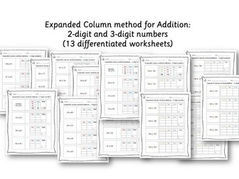 Year 3 / Year 4 Expanded column method - 2-digits and 3-digits with examples