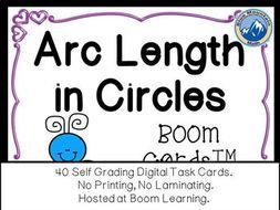 Arc Length in Circles Boom Cards--Digital Task Cards