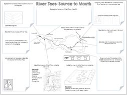 Rivers: River Tees Source to Mouth A3 Worksheet