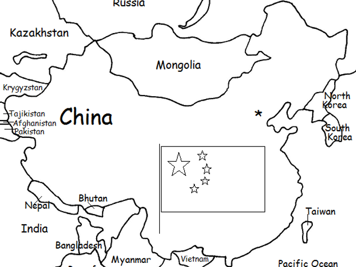graphic about Printable China Map named CHINA - Printable handouts with map and flag