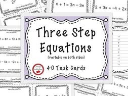Solving Equations Three Step Equations - 40 Task Cards