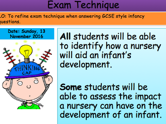 Health and Social Care Infancy Exam Technique Lesson Unit 1 Edexcel