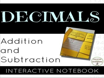 Decimals: Addition and Subtraction of Decimals Notebook Foldable