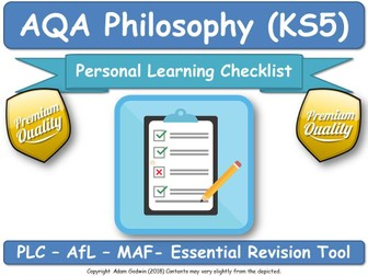 Metaphysics of Mind - PLC A2 AQA Philosophy (New Spec) PERSONAL LEARNING CHECKLIST Worksheet DIRT