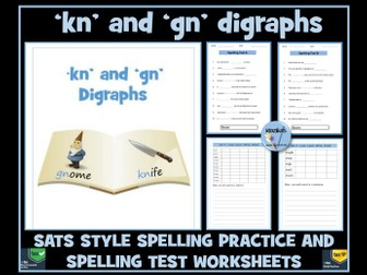 kn and gn digraphs: Spelling Practice and  Tests