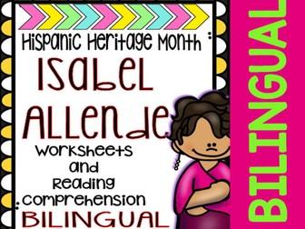Hispanic Heritage Month - Isabel Allende - Worksheets and Readings (Bilingual)