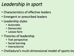A-Level PE - Leadership in Sport