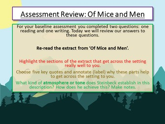 Of Mice and Men - Assessment Review