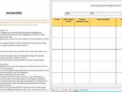 whole school learning walk policy feedback grid template teaching learning