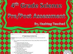 4th Grade Science Pre/Post Assessment (40 Multiple Choice Questions)