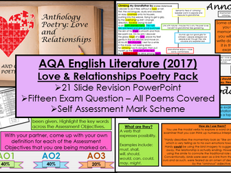 Love and Relationships Poetry Revision Lesson and Exam Practice Questions (AQA, 9-1 GCSE)