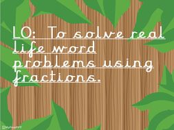 Year 1/2 - Real life word problems involving fractions. 1/2 and 1/4.  Zoo theme.