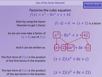 A level AS Mathematics Factor theorem, Algebraic division and simultaneous equations