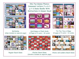 Phonics Consonant Letters f-s-k-l-p-t 6 Game Bundle